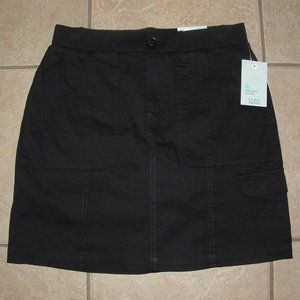 NEW NWT Black Sz 8 Stretchy Cotton Skort Pockets
